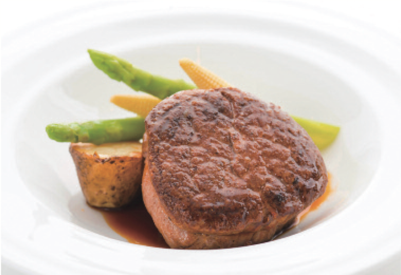 JAL Business Class menu designed by Chef Naoki Uchiyama: Corn Fed US Prime Beef with Madeira Sauce