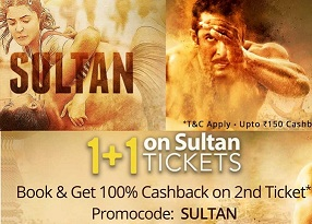 Sultan Movies Ticket – Buy 2 Tickets Get 100% Cashback on 2nd Ticket @ Paytm