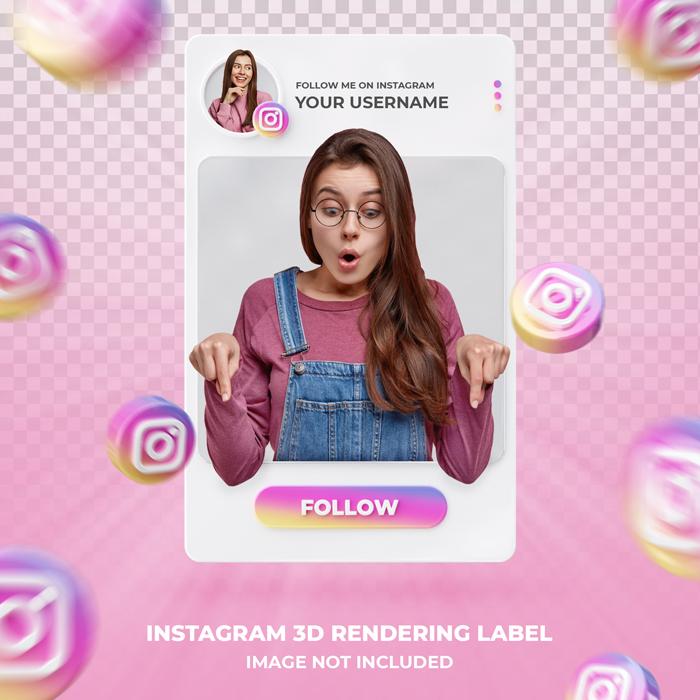 Banner Icon Profile Instagram-3D Lendering Label Template
