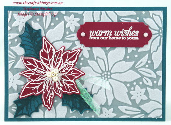 #thecraftythinker #stampinup #cardmaking #xmascard #poinsettiapetalsbundle , Christmas card, Poinsettia Petals Bundle, Plush Poinsettia paper, Sneak Peek 2020 Mini Catalogue, Stampin' Up Demonstrator, Stephanie Fischer, Sydney NSW