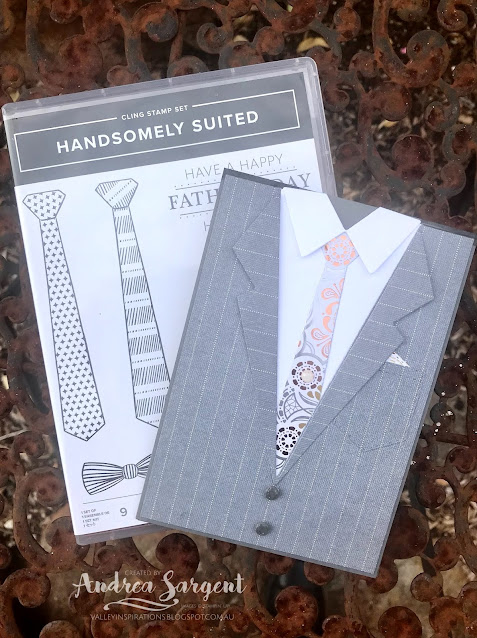 The Suit and Tie Easel Card was created for that special fella in your life, by Andrea Sargent at Valley Inspirations. Copyright Stampin' Up!