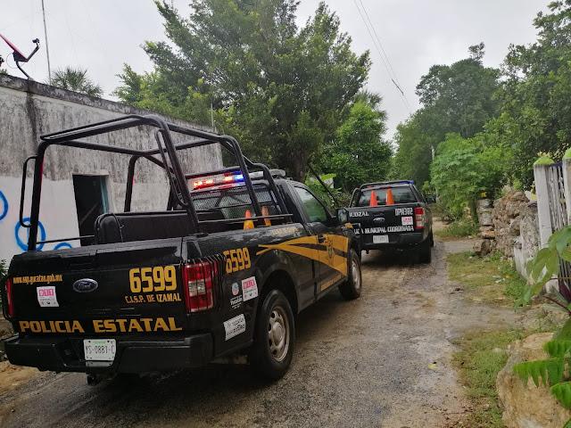 En Cuzamá, elementos de la policía estatal y la municipal coordinada, apoyaron a una familia cuya vivienda corría peligro por un árbol de jabín