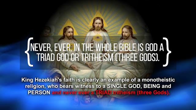 The one true GOD, is never ever a TRIAD tritheism (three Gods).