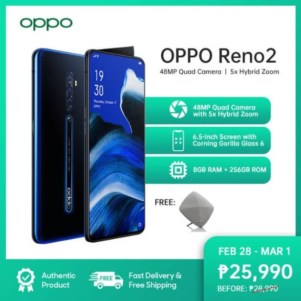 OPPO Reno2 Now Only Php25,990