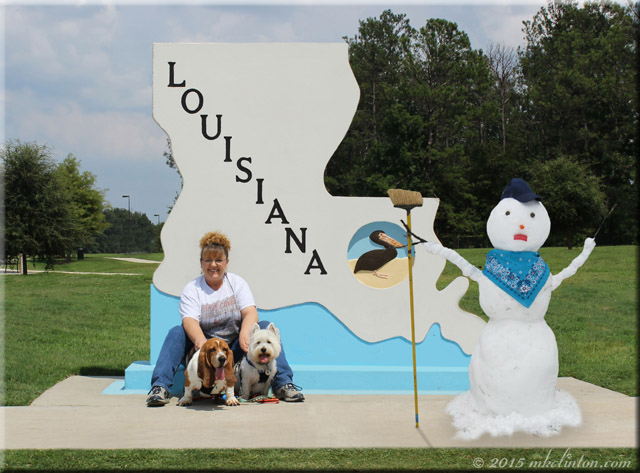 Louisiana symbol, woman, two dogs and snowman
