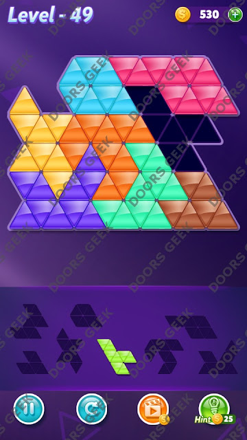 Block! Triangle Puzzle 8 Mania Level 49 Solution, Cheats, Walkthrough for Android, iPhone, iPad and iPod
