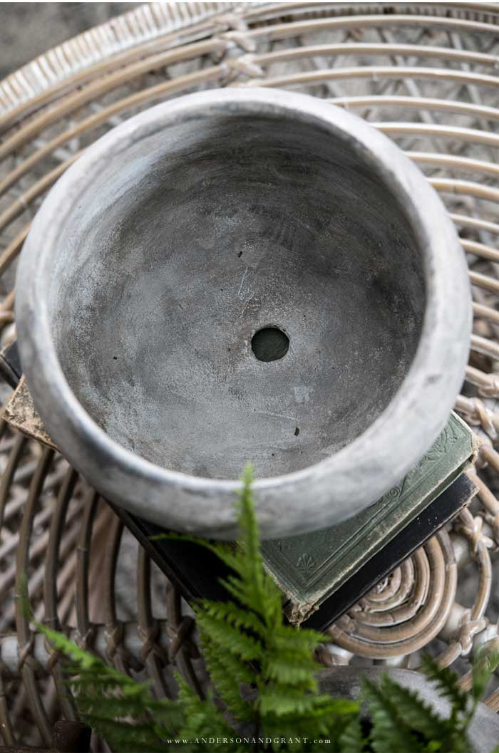 Inside of a stone planter