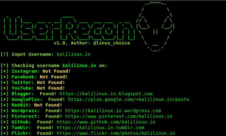Userrecon -- Find Social Media Accounts | Kali Linux - Kali