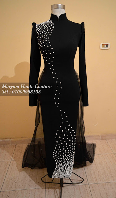 Black evening dress with long sleeves - فستان سواريه شيك باللون الاسود