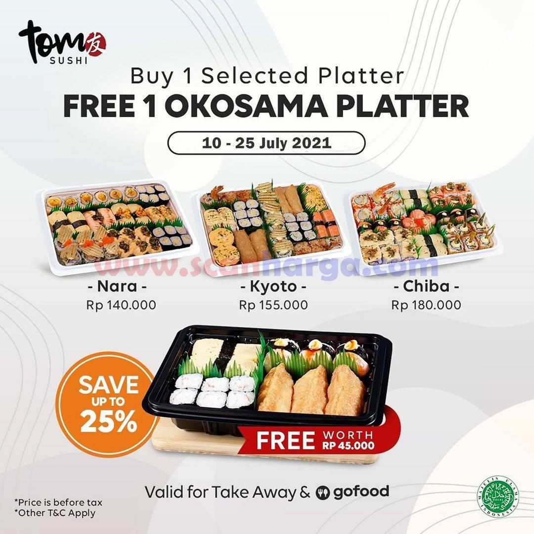 TOM SUSHI Promo Buy 1 Get Free 1 Okosama Platter (Take Away & GOFOOD)