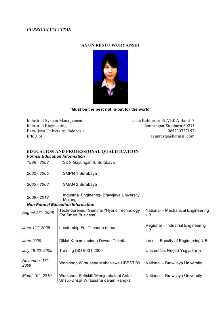 Contoh Curriculum Vitae Yang Menarik Doc Can I Pay Someone To