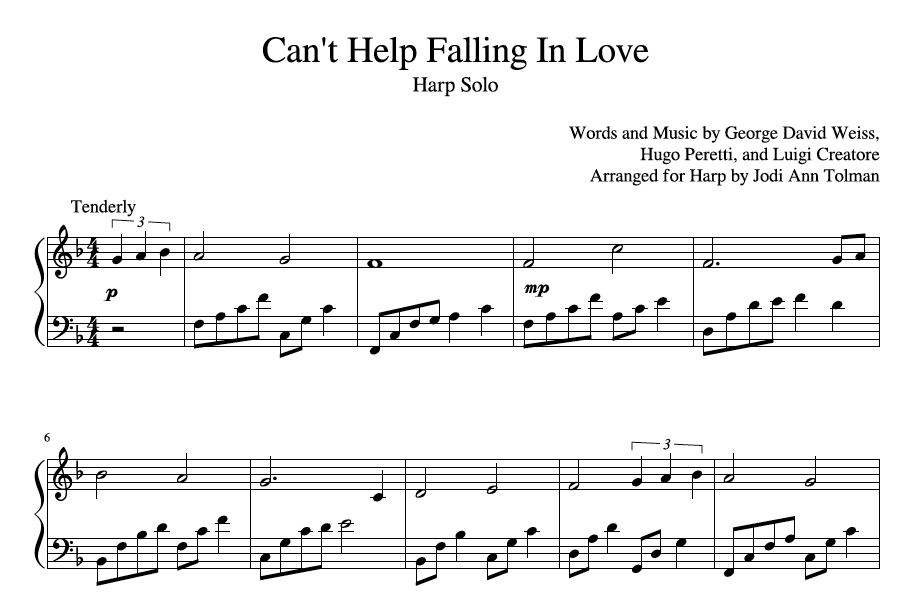 Cant Help Falling In Love Harp Solo Music By Jodi Ann