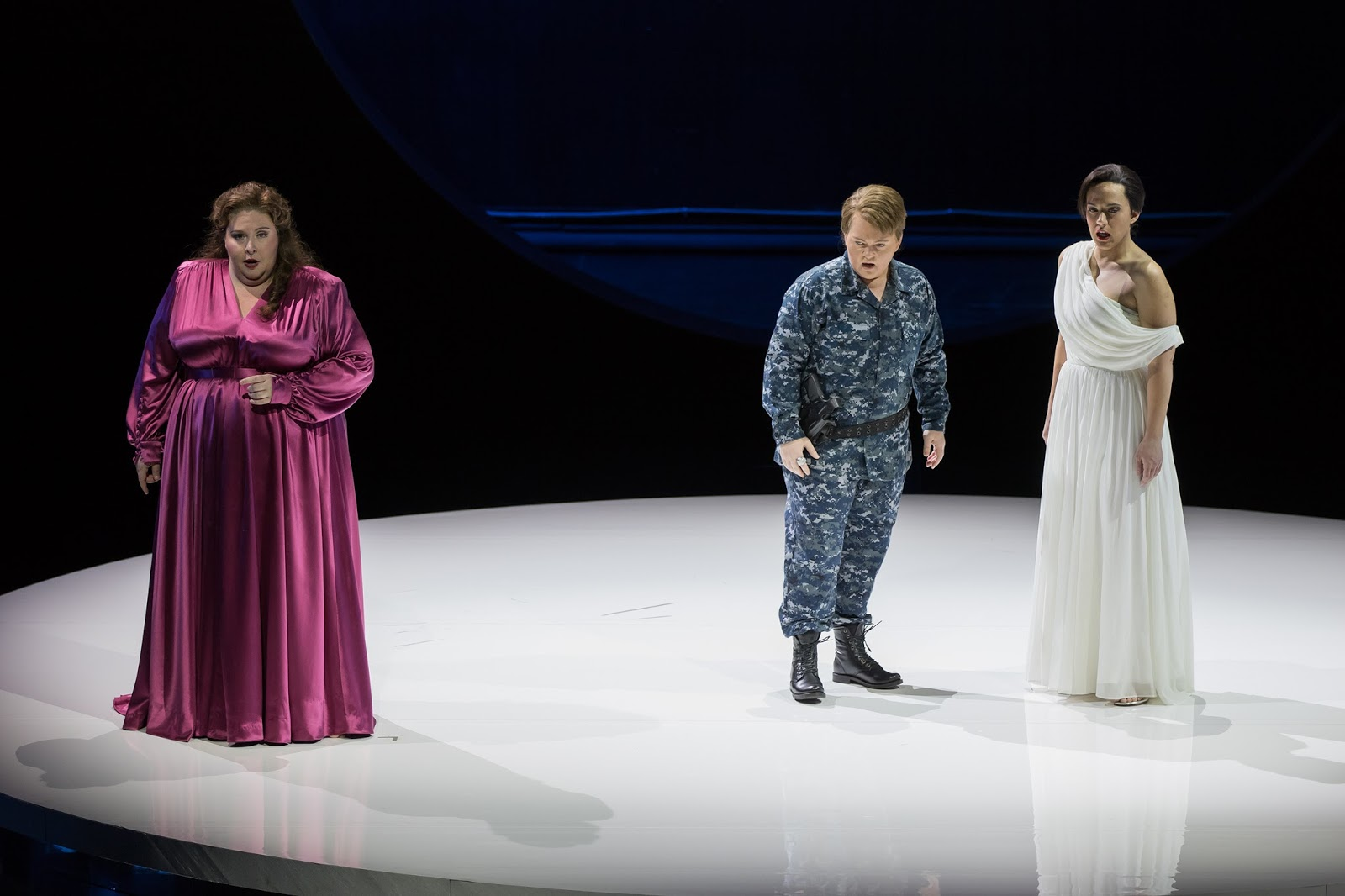 IN PERFORMANCE: (from left to right) soprano ANGELA MEADE in the title rôle and mezzo-sopranos ELIZABETH DESHONG and DANIELA MACK as Ruggiero and Bradamante in Washington National Opera's production of Georg Friedrich Händel's ALCINA, November 2017 [Photo by Scott Suchman, © by Washington National Opera]