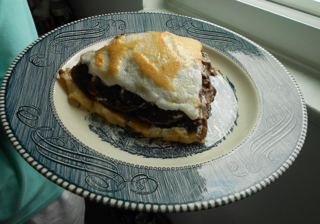 Piece of Choco-Peanut Butter Banana Cream Pie Image