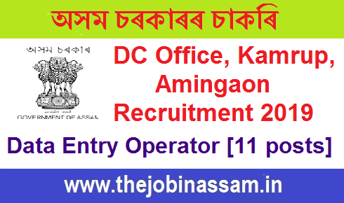 Deputy Commissioners Office, Kamrup, Amingaon Recruitment 2019: Data Entry  Operator [12 posts