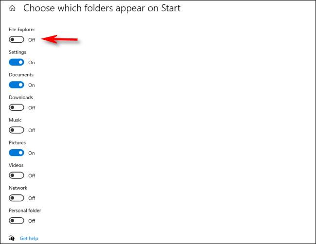 """في قائمة """"اختيار المجلدات التي تظهر في"""" ابدأ """"، انقر فوق مفاتيح التبديل بجانب المجلدات لتنشيطها"""