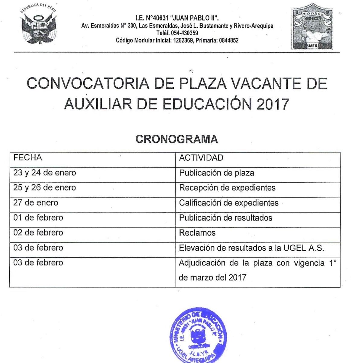 Convocatoria para plaza de auxiliar de educaci n 2017 i for Convocatoria de plazas docentes 2017