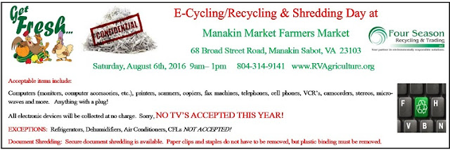 6th Annual E-Cycling/Recycling Day on Saturday, August 6th at Manakin Market.
