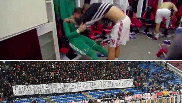 La banderole des supporters du Milan AC Donnarumma