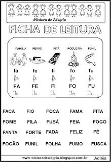 Ficha leitura família silábica F
