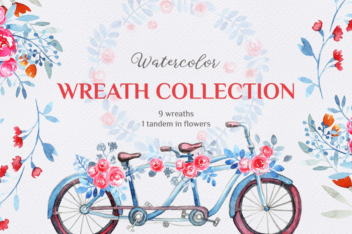Free Watercolor Wreath Collection, watercolor wreath for designers