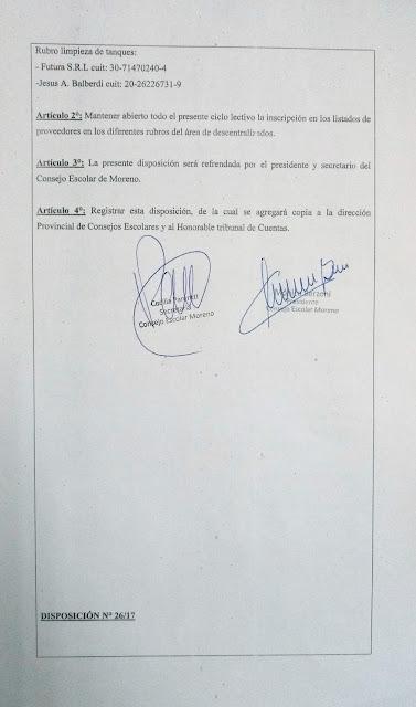 Disposición N° 26/17: Aprobacion del área de empresa del área de descentralizados
