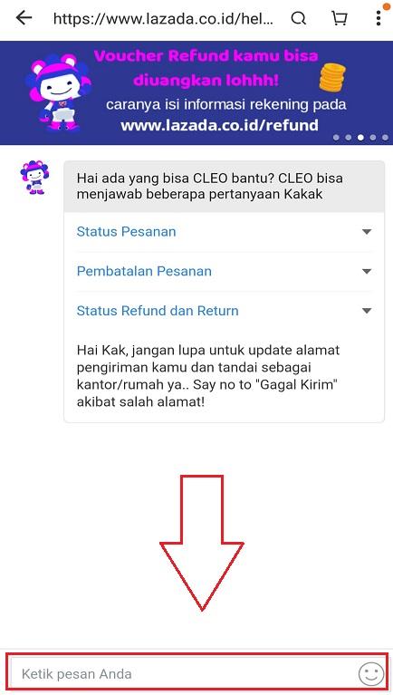 Mengetikan Pengajuan Hapus Akun di Kolom Chat dengan CS Lazada.