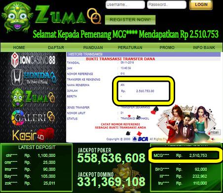 Selamat Kepada Pemenang Member Setia ZumaQQ Periode 6 November 2019