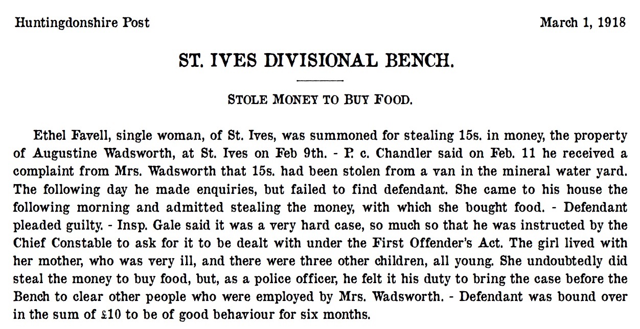 St Ives 1 March 1918