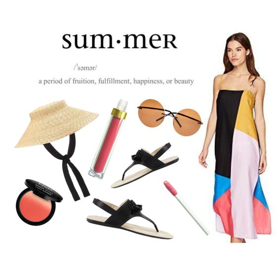 The Colors Of Summer www.toyastales.blogspot.com #ToyasTales #maxidress #colorblock #strawhat