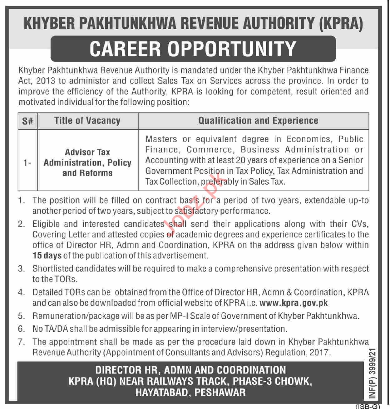 Jobs in Khyber Pakhtunkhwa Revenue Authority KPRA