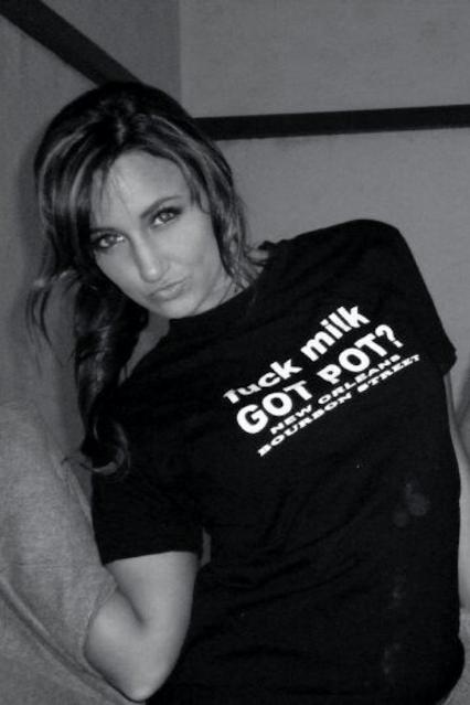Fuck Milk Got Pot t-shirt worn by hot chick.  PYGear.com