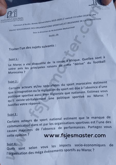 Exemple Concours Master Gouvernance des Organisations Sportive et Ingénierie de la Formation 2019-2020 - FSE Rabat