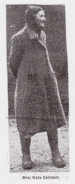 Scan of a newspaper photograph of Mrs Kate Canham, taken from a cutting from the 1960s, probably the Welwyn Hatfield Times. From The Peter Miller Collection