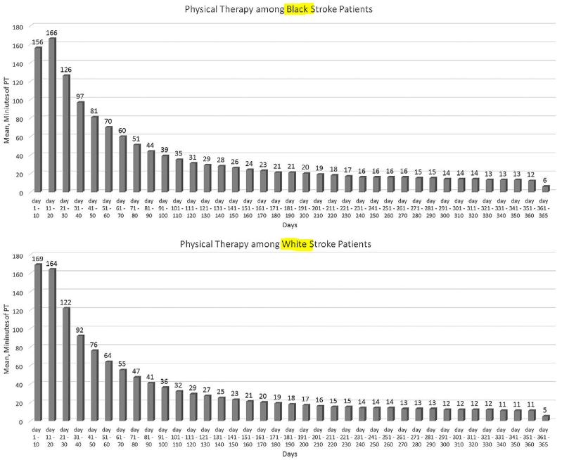 図:黒人と白人 脳卒中リハビリ時間の違い