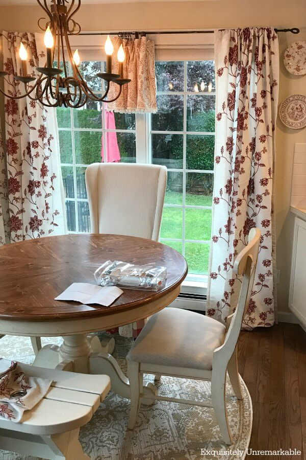 Floral curtains and valances in kitchen