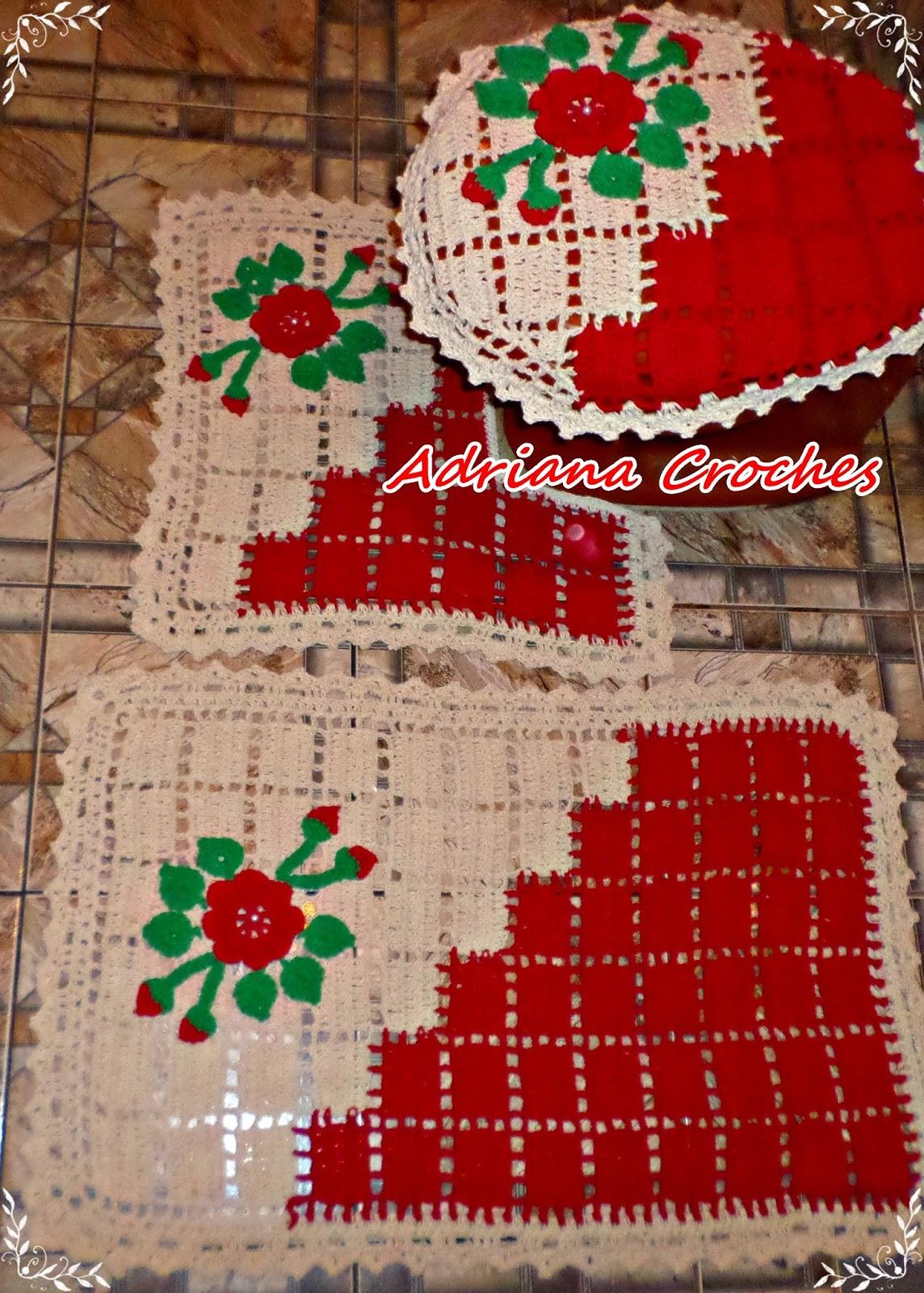 7dfc244df Croches da dry  JOGO DE BANHEIRO DUAL COLOR CRU VERMELHO
