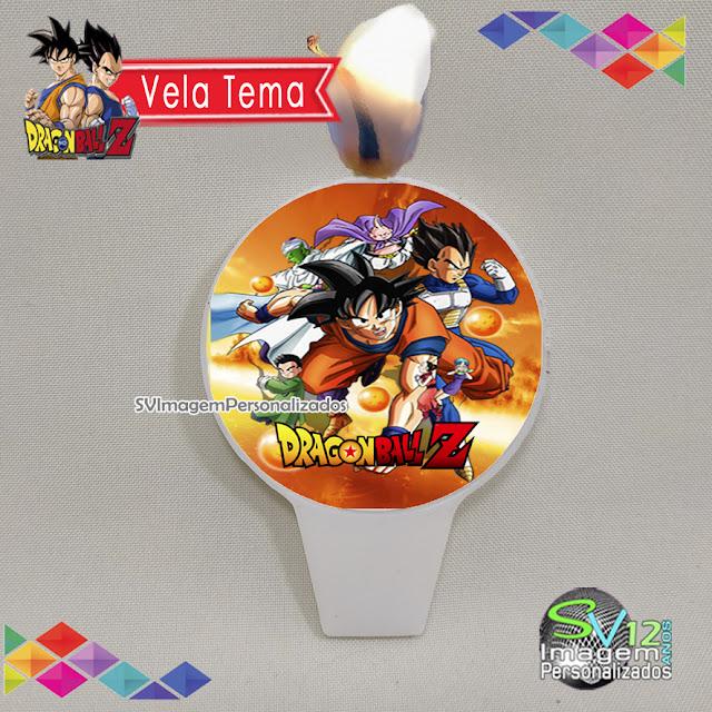 vela de aniversário tema Dragon Ball Z dicas e ideias para decoração de festa personalizados arte redonda para personalizados