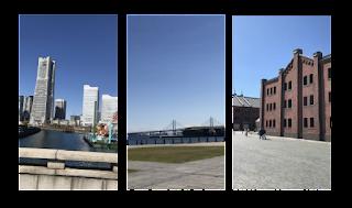 みなとみらいの風景。ランドマークタワー、ベイブリッジ、赤レンガ倉庫