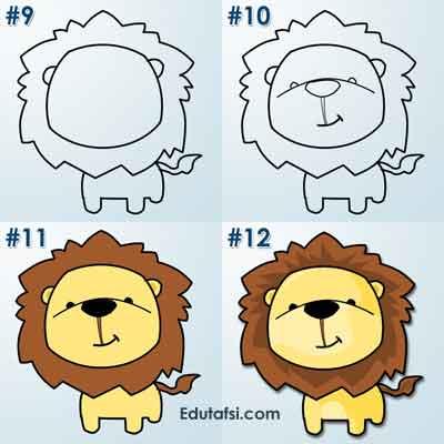 Menggambar kartun chibi singa lucu