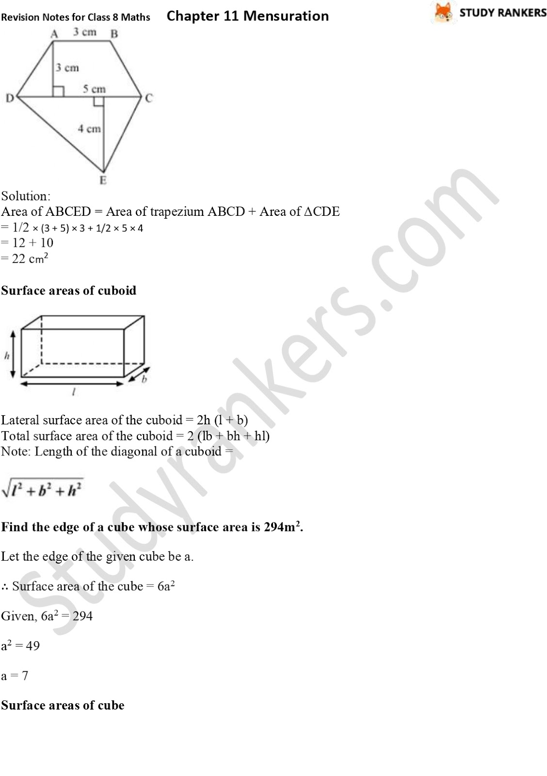 CBSE Revision Notes for Class 8 Chapter 11 Mensuration Part 3