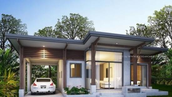 Lingkar Warna 25 Desain Inspiratif Rumah Atap Miring Ke Belakang 1 Lantai