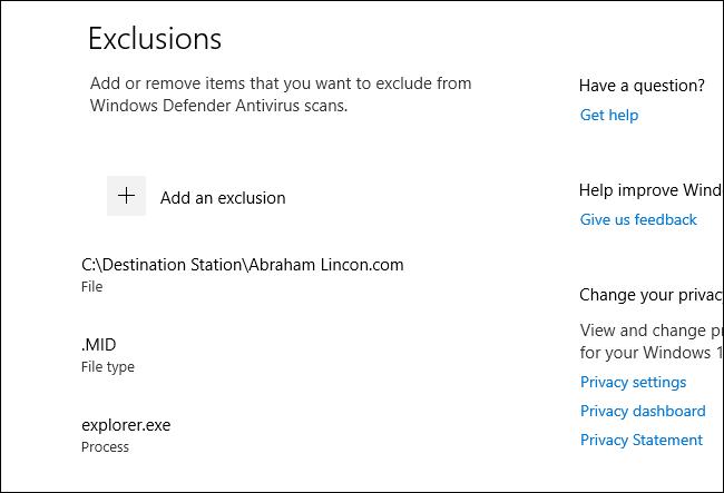 قائمة باستثناءات مسح Windows Defender في Windows 10