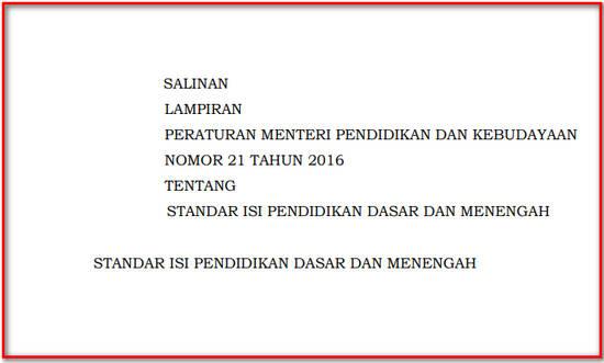 Permendikbud Nomor 21 Tahun 2016 tentang Standar Isi