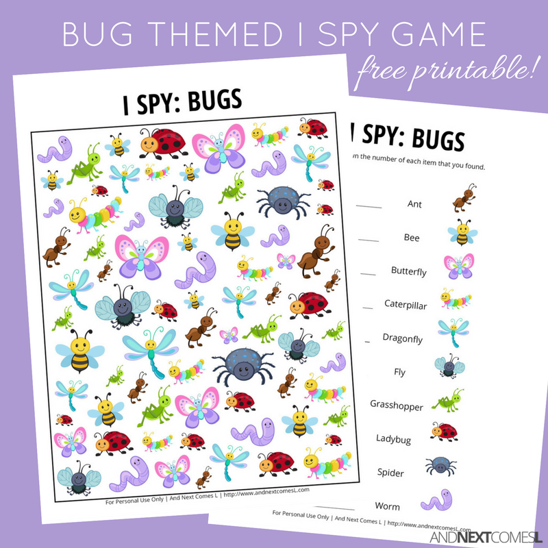 photograph regarding I Spy Printable called Bug I Spy Activity No cost Printable for Little ones And Up coming Will come L