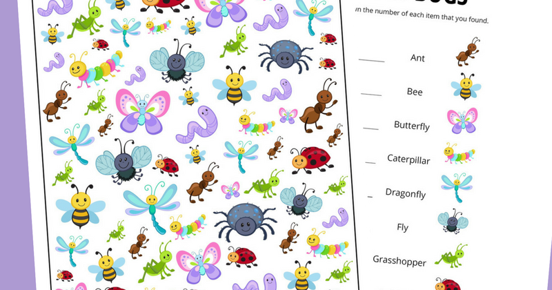 picture about Printable Bugs named Bug I Spy Match No cost Printable for Children And Following Arrives L