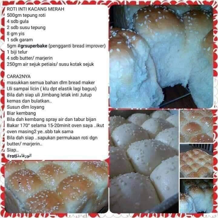 resepi roti inti kacang merah