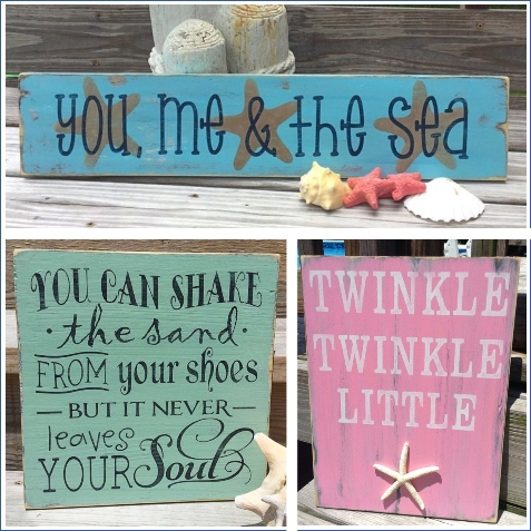 Bold Wood Beach Quote Painted Signs