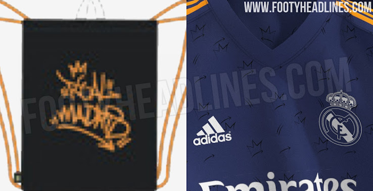 Products Leaked Real Madrid 21 22 Away Kit Design Prediction Pattern Of Small Arrows Crowns Footy Headlines