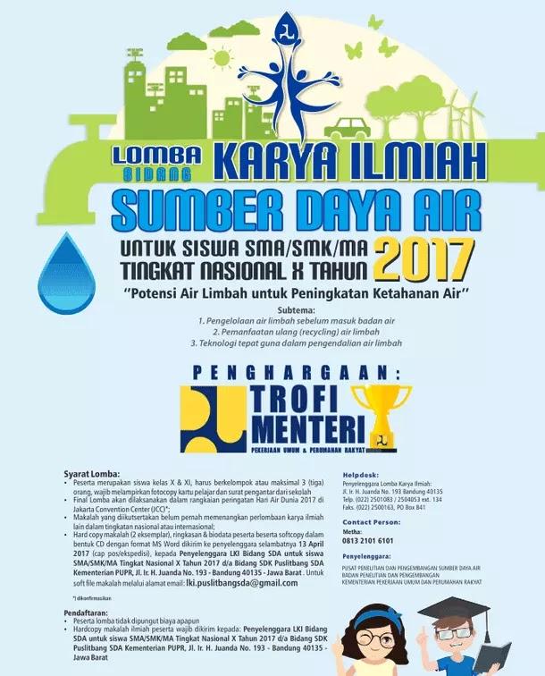 Poster Lomba Karya Ilmiah Bidang Sumber Daya Air Tingkat Nasional untuk Siswa SMK